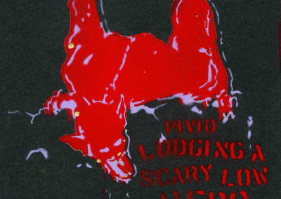 Lodging a Scary Low Hero - red and purple CD cover